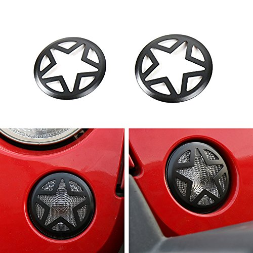 RilexAwhile Front Turn Signal Light Cover Guard 2PCS Aluminum Five Stars Front Fog Lamp Covers Trim Turn Signal Lights Guard for 2007-2017 Jeep JK Wrangler & Wrangler Unlimited(Black)