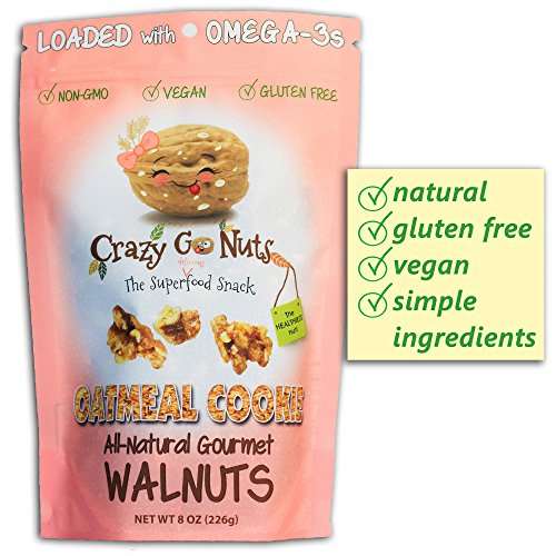 Crazy Go Nuts Flavored Walnuts & Healthy Snacks: Gluten Free, Vegan, Non GMO, 8oz - Oatmeal Cookie
