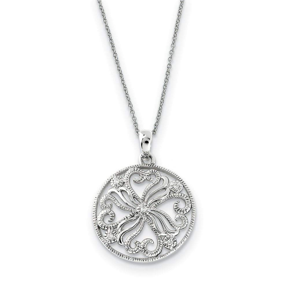 Sentimental Expressions Sterling Silver CZ Kindred Spirit Swirls Necklace 18
