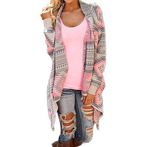 Daman Asymmetrisch Kimono Lose Gestrickt geometrischen Muster Strickjacke Cardigan Strickmantel Strick Mäntel Tunika outwear Parka (XL, Rosa)