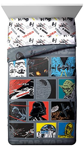 Star Full Comforter - Star Wars Classic Death Star Twin/Full Comforter - Super Soft Kids Reversible Bedding - Fade Resistant Polyester Microfiber Fill (Official Star Wars Product)