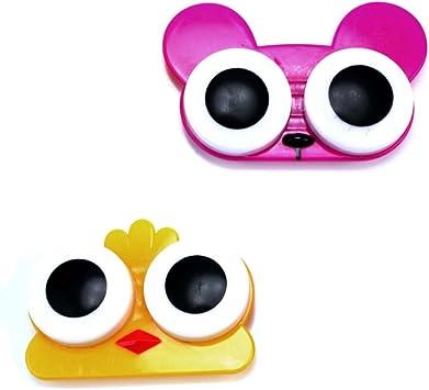 Pinzhi 2 x Estuche Caja Organzador Lentes de Contacto Porta Lentillas Ojos de Animal: Amazon.es: Juguetes y juegos