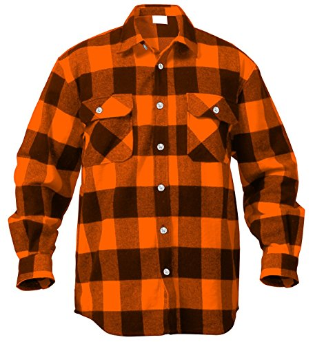 (Rothco Extra Heavyweight Buffalo Flannel Shirts, Orange Plaid, 4X-Large)