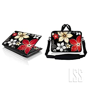 """LSS & Macbook PRO Laptop Sleeve Bag Carrying Case w/Hidden Handle & Matching Vinilo Adhesivo Para 8"""" 9"""" 10,2"""" Gray Red Black Flower Leaves"""