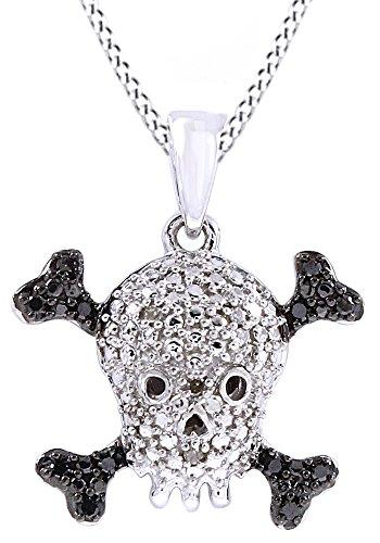 White Diamond Skull Pendant - 14k White Gold Over Sterling Silver Black & White Natural Diamond Accent Skull Pendant Necklace