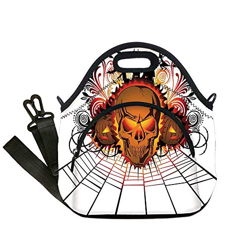 Insulated Lunch Bag,Neoprene Lunch Tote Bags,Halloween Decorations,Angry Skull Face on Bonfire Spirits of Other World Concept Bats Spider Web,Multi,for Adults and children