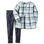 Carter's Baby Girls 2 Pc Playwear Sets, Blue Plaid Poplin/Denim, 6M