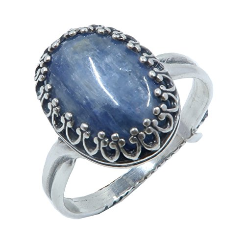 Kyanite Blue Ring 7-11 Boutique Shimmering Metallic Blue Genuine Oval Gemstone Adjustable Metal Crystal Healing B02 (Sterling Silver)