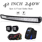 UNI FILTER DOT Approved 42Inch 240W Curved Off Road LED Light Bar + 4Inch 18W Cube Pods Driving Fog Lights W/Wiring Harness + Rocker Switch For Polaris RZR Toyota Tacoma GMC UTV Truck ATV Jeep