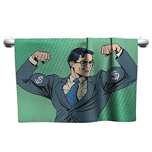 Tankcsard Art Towel Green,Pop Art Retro Style Manly Businessman with Currency Dollar Money Print, Petrol Blue Fern Green,Hanging Towel Rack for Bathroom