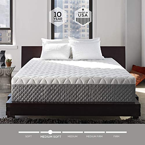 Sleep Innovations Alden 14-inch Memory Foam Mattress, Bed in a Box, Tufted Cover, Made in The USA, 10-Year Warranty - King Size (Sleep King Mattress)