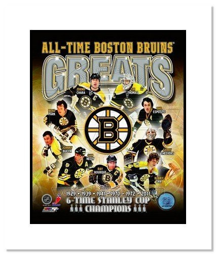 Boston Bruins All Time Greats NHL Double Matted 8x10 Photograph Stanley Cup Champs Collage
