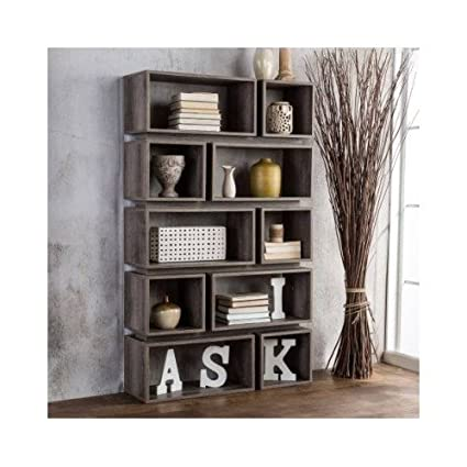 Furniture Of America Cassidy Tiered Distressed Grey 10 Shelf Open Bookcase