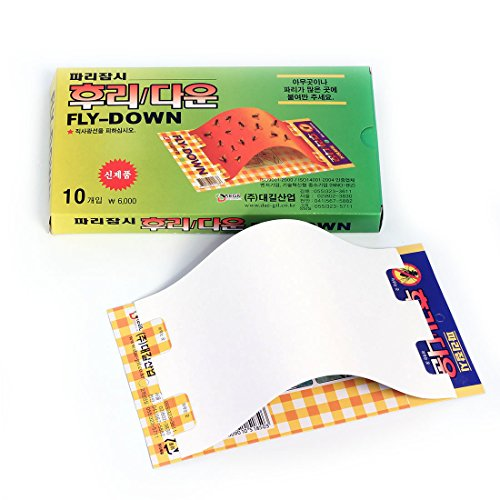 "FLY DOWN - Glue Trap Flies Moths Fruit-Flies Repellent - Disposable Non-Toxic Sticky Glued Paper - 10 Traps (8.5"" x 5"")"