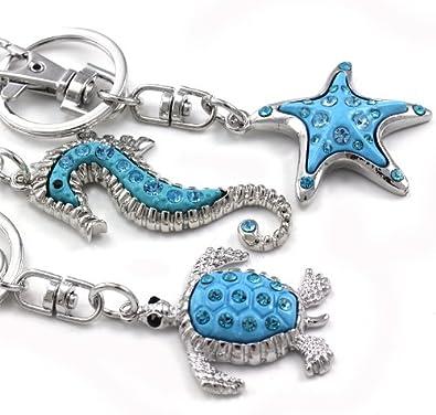 3906d526f2 Amazon.com: Soulbreezecollection Aqua Blue Sea Turtle Starfish Seahorse Keychain  Tortoise Animal Dangle Key Ring Charm Enamel Fashion Accessories Gift for  ...