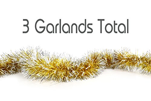 Christmas Tinsel Garland Hanging Tinsel Garland with Christmas Trees Holiday Christmas Decor (Pack of 1, Gold-Frost Tip)