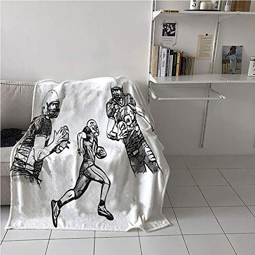 (Suchashome Boys Room Casual Blanket,Sketch of American Football Players Running Competition Activity Championship,Plush Throw Blanket,All Season Blanket 57