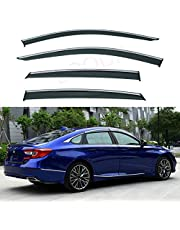 LQQDP 4pcs Front+Rear Smoke Tint With Chrome Trim Sun/Rain Guard Outside Mount Tape-On/Clip-On PVC Window Visors compatible with 18-20 Accord 4-Door Sedan
