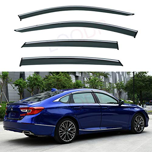 LQQDP Set of 4 Front+Rear Smoke Tint With Chrome Trim Sun/Rain Guard Outside Mount Tape-On/Clip-On PVC Window Visors For 18-19 Honda Accord 4-Door Sedan