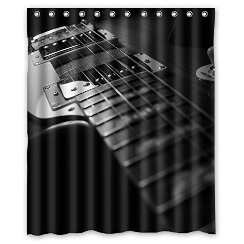 JIUDUIDODO Nature & MILDEW RESISTANT Personalized 4th July Gifts Beautiful Guitar Custom Waterproof Polyester Fabric Bathroom Shower thick curtains 60
