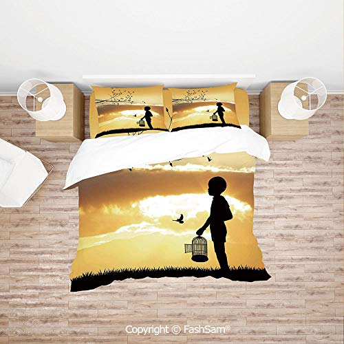 FashSam Duvet Cover 4 Pcs Comforter Cover Set Little Child Silhouette with a Bird Cage at Sunset in Forest Rural Trees Birds for Boys Grils Kids(King)