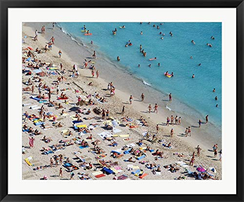 Aerial View of People at The Beach, Waikiki Beach, Honolulu, Oahu, Hawaii, USA Framed Art Print Wall Picture, Black Frame, 39 x 32 inches