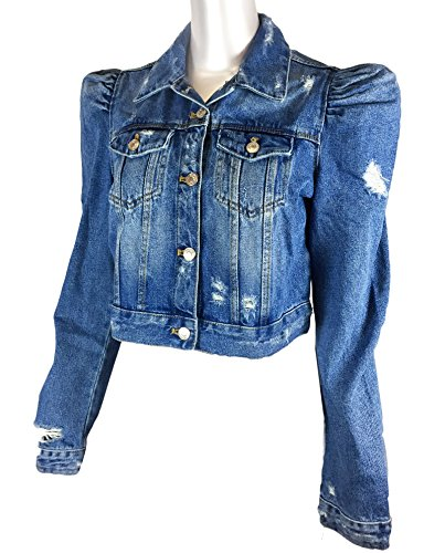 Puff Sleeve Denim Jacket CONNEXITY Your go-to jean jacket throws it back to the '80s with girly puffed sleeves and shredded distressing. 22 1/2