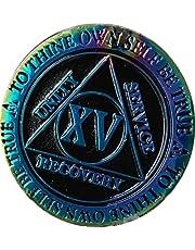 15 Year AA Medallion Reflex Rainbow Plated Black Sobriety Chip