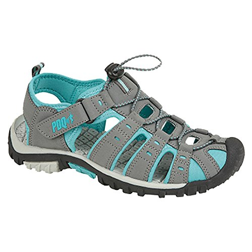 PDQ Ladies Closed Toe Sports Sandals Grey/Jade Walking Adventure L377 KD-UK 7 (EU 41)