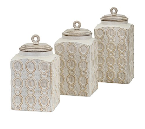 (IMAX 95792-3 Dreanna Canisters - [Set of 3] Food Safe, Handcrafted Container with Mango Wood Lid. Kitchen Storage Accessories)