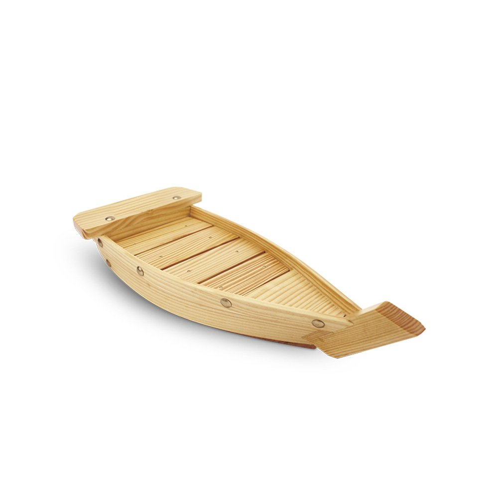 HUANGYIFU Small Natural Wooden Sushi Serving Tray Plate Boat-Display Boat-1piece-33/37/42cm
