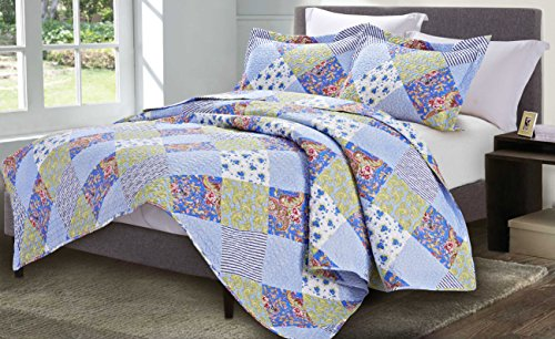 ue Grey Floral Queen Napoli Collection 3PC Quilt Set ()