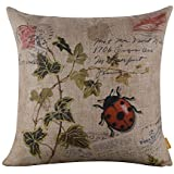 Hidoon® 45cmx45cm Seven-spotted Ladybug Ladybird insects Coccinella Septempunctata Green Leaf Linen Cushion Cover Pillow Case