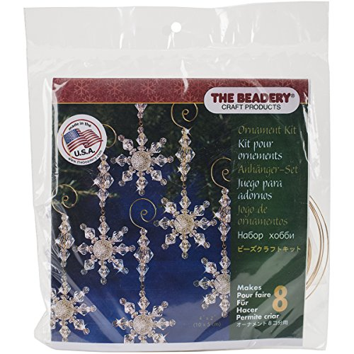 Beadery Holiday Beaded Ornament Kit, Snow Crystal Danglers, 4