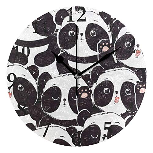 Dozili Cute Cartoon Panda Animal Round Wall Clock Arabic Numerals Design Non Ticking Wall Clock Large for Bedrooms,Living Room,Bathroom (Design Room Pbteen)