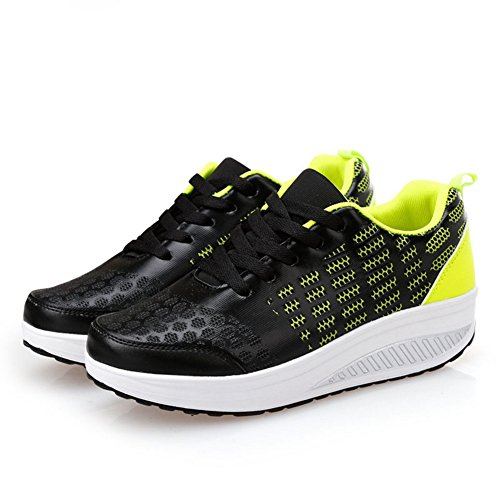 CYBLING Wedge Walking Shoes For Women Outdoor Lace up Athletic Breathable Comfort Sneaker Black d3NvCP