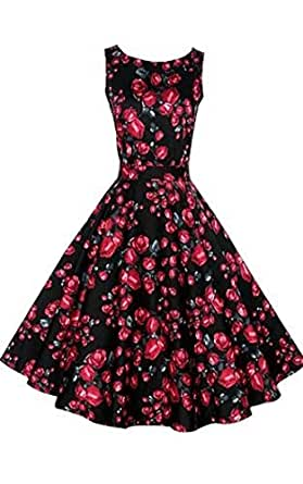 ACEVOG Women's Sleeveless Floral Printed Fit and Flare Swing Dress,Black,Small