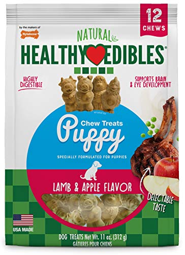Nylabones Healthy Edibles Lamb and Apple Puppy Pals Chew Treats Variety Pack, 12 Chews Per Pack ()