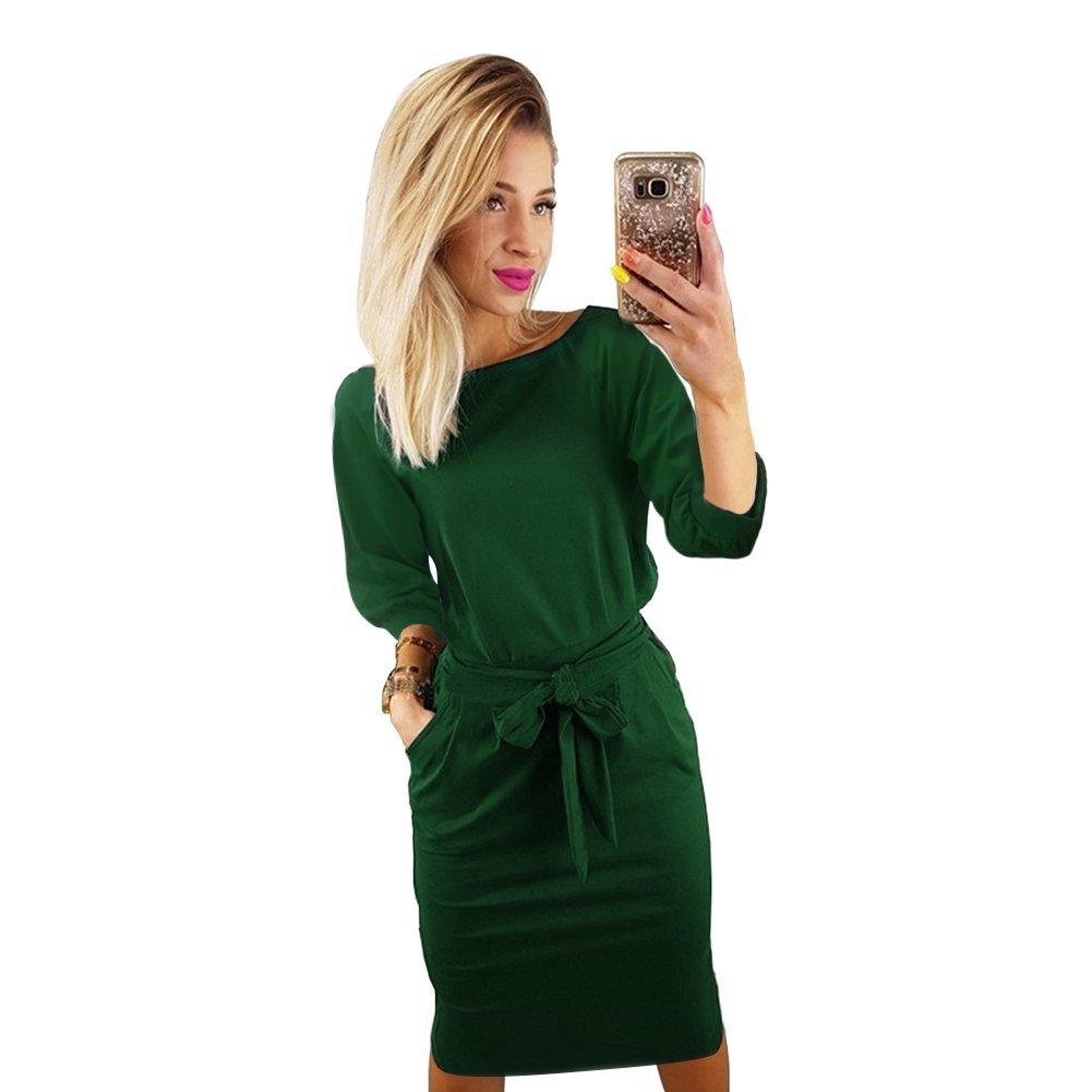 TALLA L(ES 40). Longwu Vestido de Manga Corta Elegante de Las Mujeres para Trabajar el Vestido Ocasional del lápiz con la Correa Verde(manga de Soplo) L(ES 40)