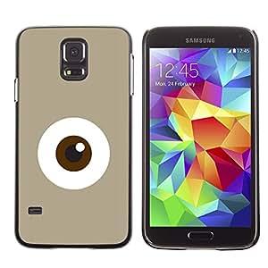 MobileHut / Samsung Galaxy S5 SM-G900 / Eye Monster Cute Minimalist Beige / Delgado Negro Plástico caso cubierta Shell Armor Funda Case Cover