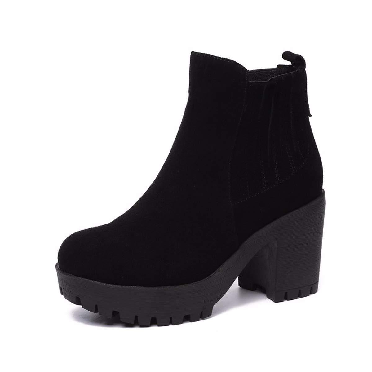 KHSKX 10Cm High Heel Shoes Woman Chelsea Boots Winter Martin