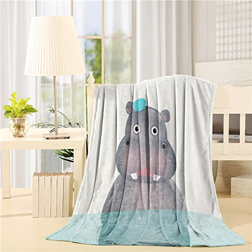 Luxury Soft Decorative Throw Blanket Cartoon Animal Funny Hippo All Seasons Flannel Custom Blankets for Bed Couch Chair Camping (Hippo Travel Blanket)