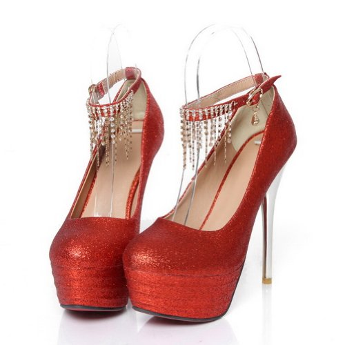 VogueZone009 Womans Closed Round Toe High Heel Spikes Stilettos PU Frosted Solid Pumps with Tassels Red IjXl5qckfp
