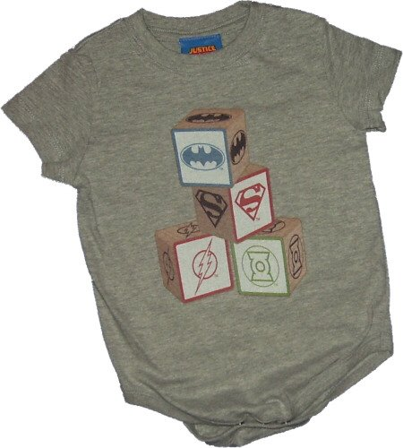 Justice League -- Baby Blocks Infant One-Piece Snapsuit, 6 Months -