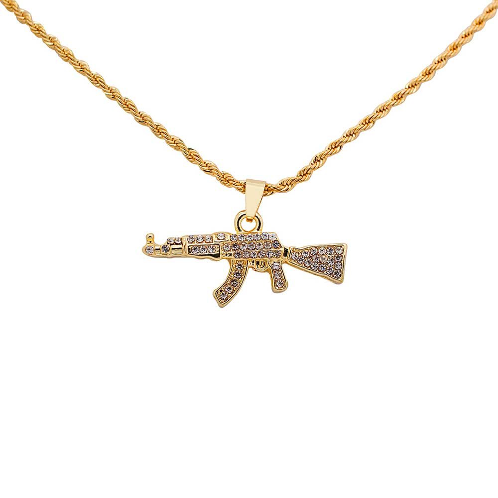 Yellow Gold-Tone Iced Out Hip Hop Bling AK-47 Micro Pendant with 24'' Rope Chain