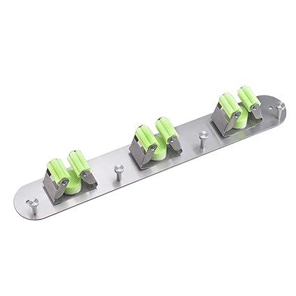 HUACANG Metal Colgador de Escobas Cepillado Soporte De Fregona Almacenamiento De Escobas Multifunción Punch Gratis Cocina