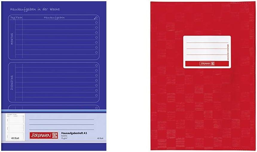 A5, 48 Blatt rot A4, Folie, mit Namensschild blau /& 104052424 Hefth/ülle//Heftumschlag Brunnen 1046814 Hausaufgabenheft