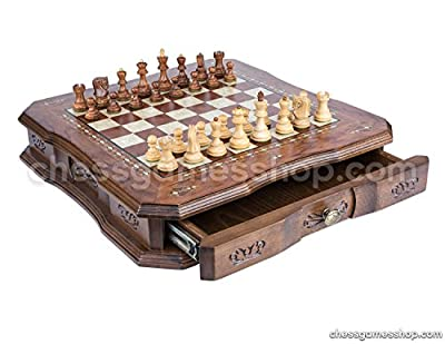 Handmade Wooden Chess Set - Luxury Walnut board with drawer + Dubrovnik Royal S chess pieces