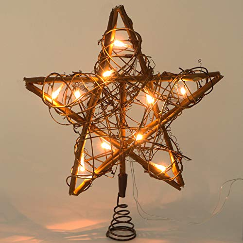 CPPSLEE Christmas Tree Toppers 10 Light  Indoor Rattan Natural Star Treetop- Christmas Tree Holiday Xmas Party Decorations (Decorations Natural Xmas)