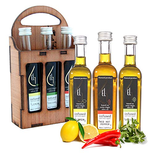 Pellas Nature | International Award Winner | Fresh Organic Infused Olive Oil Set | Finishing Oil | Lemon | Red Pepper | Oregano | Wooden Gift Set | Single Origin Greek | 3 X 1.7oz Bottles